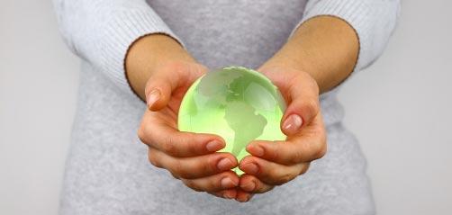 Globe woman's hands