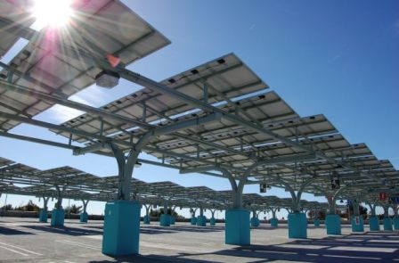 Solar Array on the Los Angeles Mission College Campus Parking Area