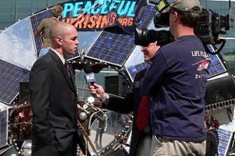 Tim DeChristopher speaking to the media