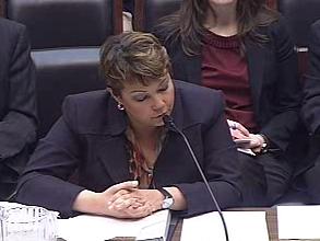 EPA Administrator Lisa Jackson speaks during a hearing