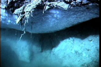 An outcrop of methane hydrates, underwater.