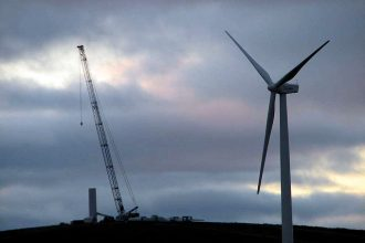Wind turbine under construction
