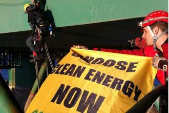 Greenpeace activists on the oil-drilling platform Leiv Eiriksson