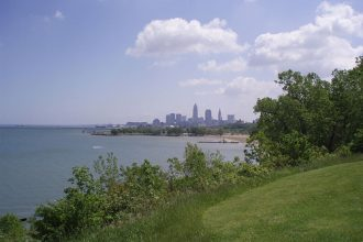 Cleveland, Ohio on the shores of Lake Erie