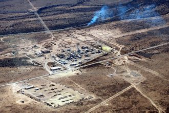 flaring from a natural gas well