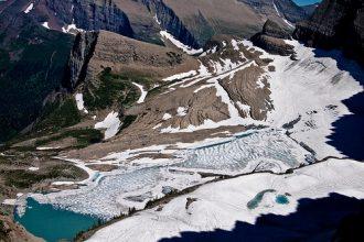 The melting Grinnell Glacier in Glacier National Park