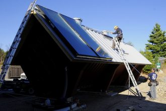 solar thermal installation on a rooftop