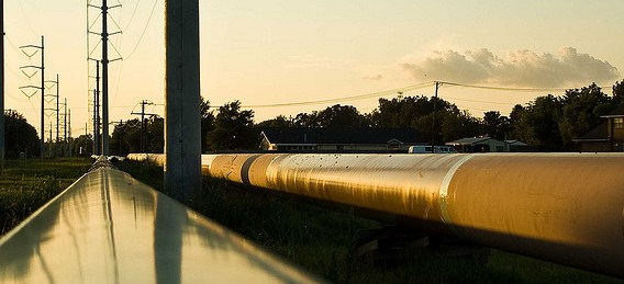 Pipeline next to water