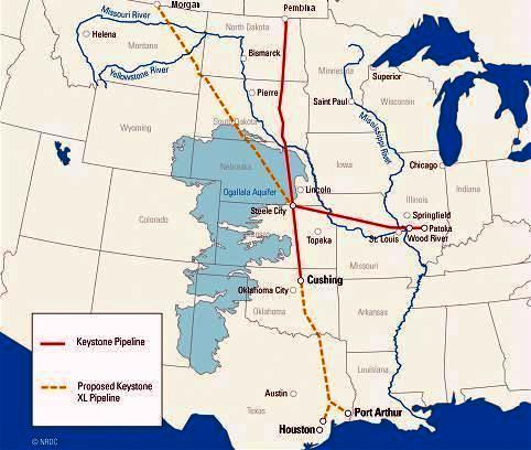 The proposed route of TransCanada's Keystone XL pipeline