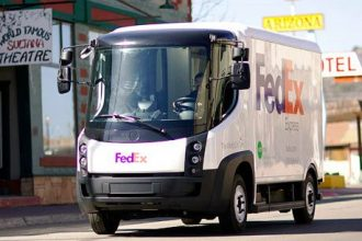 A vehicle in FedEx's all-electric delivery fleet