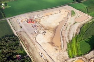 Aerial view of a frac sand mining operation in Wisconsin