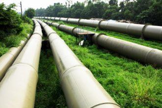 Oil pipelines in the field