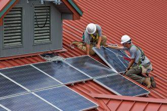 Rooftop solar panel installation in Ohio