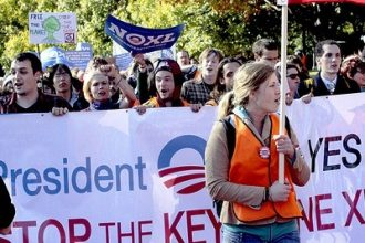 An estimated 10,000 anti-Keystone XL protestors marched at the White House on No