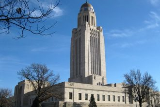 The Nebraska capitol building in Lincoln.