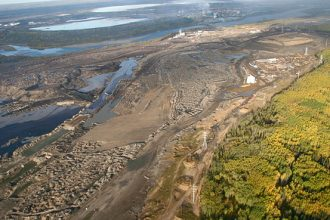 Tar sands mining at the edge of the Canadian boreal forest.