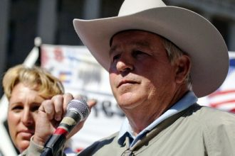 Nebraska landowner Randy Thompson speaks out against the Keystone XL pipeline in