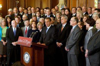House Speaker John Boehner (R-Ohio), center, with fellow House Republicans