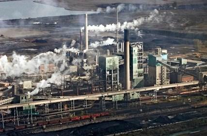 U.S. Steel's Gary Works industrial power plant in Gary, Indiana