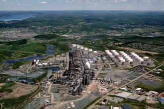 An aeriel view of Irving Oil's refinery in New Brunswick, Canada, which supplies