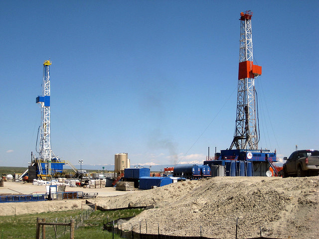 Natural gas drilling on the Pinedale Anticline in Wyoming.