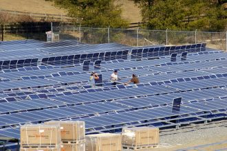 Ground-mounted solar modules on the property of the Martins Creek Elementary Sch