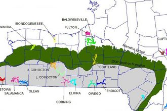 Map of primary aquifers and Marcellus Shale extent in NY