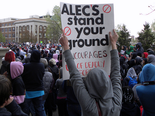 Anti-ALEC protester on March 29, 2012, at the University of Minnesota.