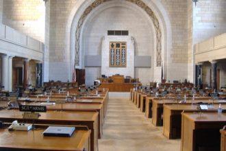 Inside the Nebraska state house.
