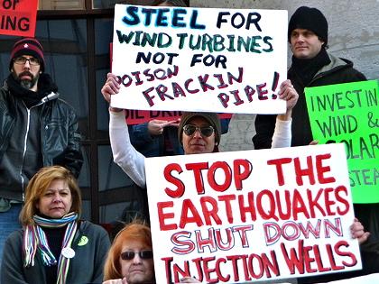 Anti-fracking protestors in Ohio