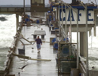 Pier damage from a powerful 2002 storm at San Diego's Ocean Beach