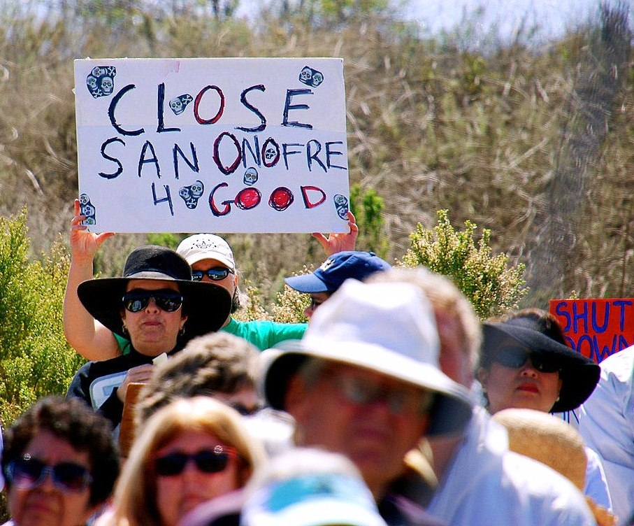 Activists protest and rally against the San Onofre Nuclear Power Plant on March