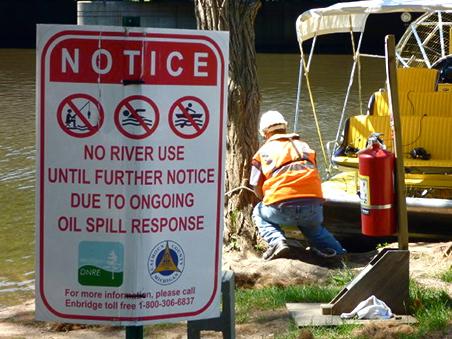 River closed sign near the Kalamazoo River