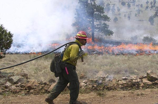 A firefighter working along the northwest perimeter of a massive blaze in the Gi