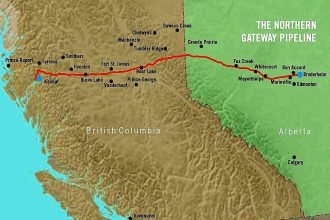The Northern Gateway twin pipeline system would run 731 miles from Bruderheim, A
