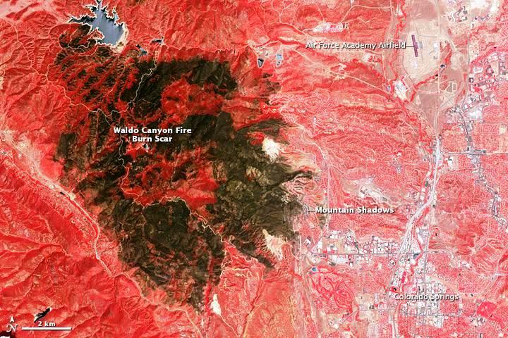 NASA satellite image taken in July of Colorado's Waldo Canyon fire