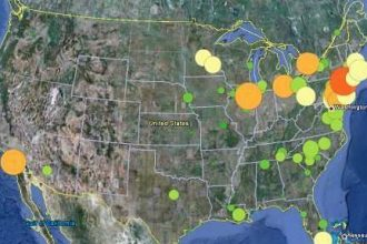 Google Earth map of nuclear power plants