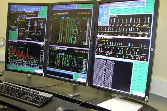 A console in the Enbridge oil control room.