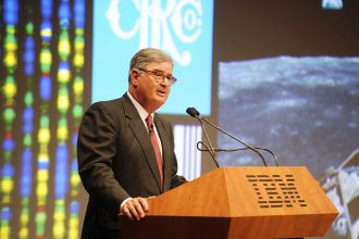 IBM Chairman Sam Palmisano delivers a speech about leadership in the global econ