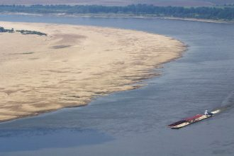 Low water levels on the Mississippi River, Aug. 2012.