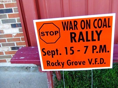 Sign advertising a 'Stop the War On Coal' rally in Franklin, Pa.