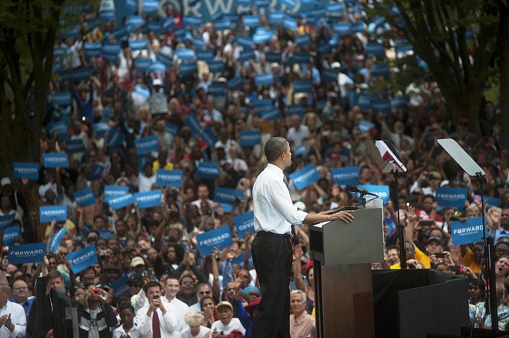 Barack Obama at a campaign stop in Mt. Adams, Ohio