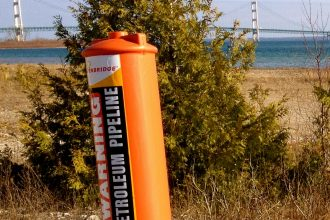 Line 5 marker near the Mackinac Bridge.