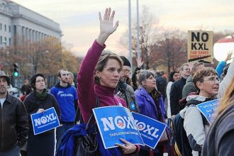 Protesters rally against the Keystone XL pipeline on Nov. 18 in Washington D.C.