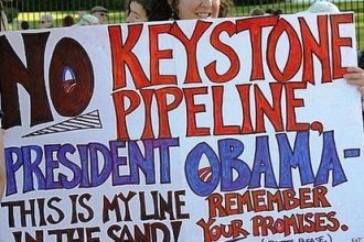 Protester rallies against the Keystone XL pipeline in Washington D.C.