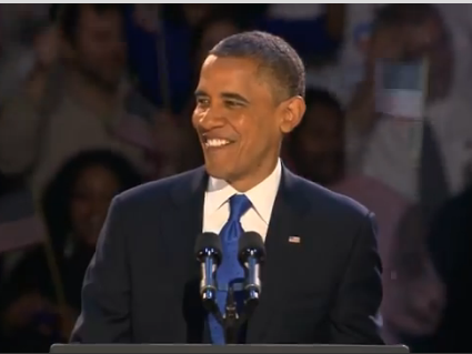 President Obama after his re-election on Tuesday night.