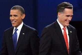 President Barack Obama and former Massachusetts Gov. Mitt Romney during the pres