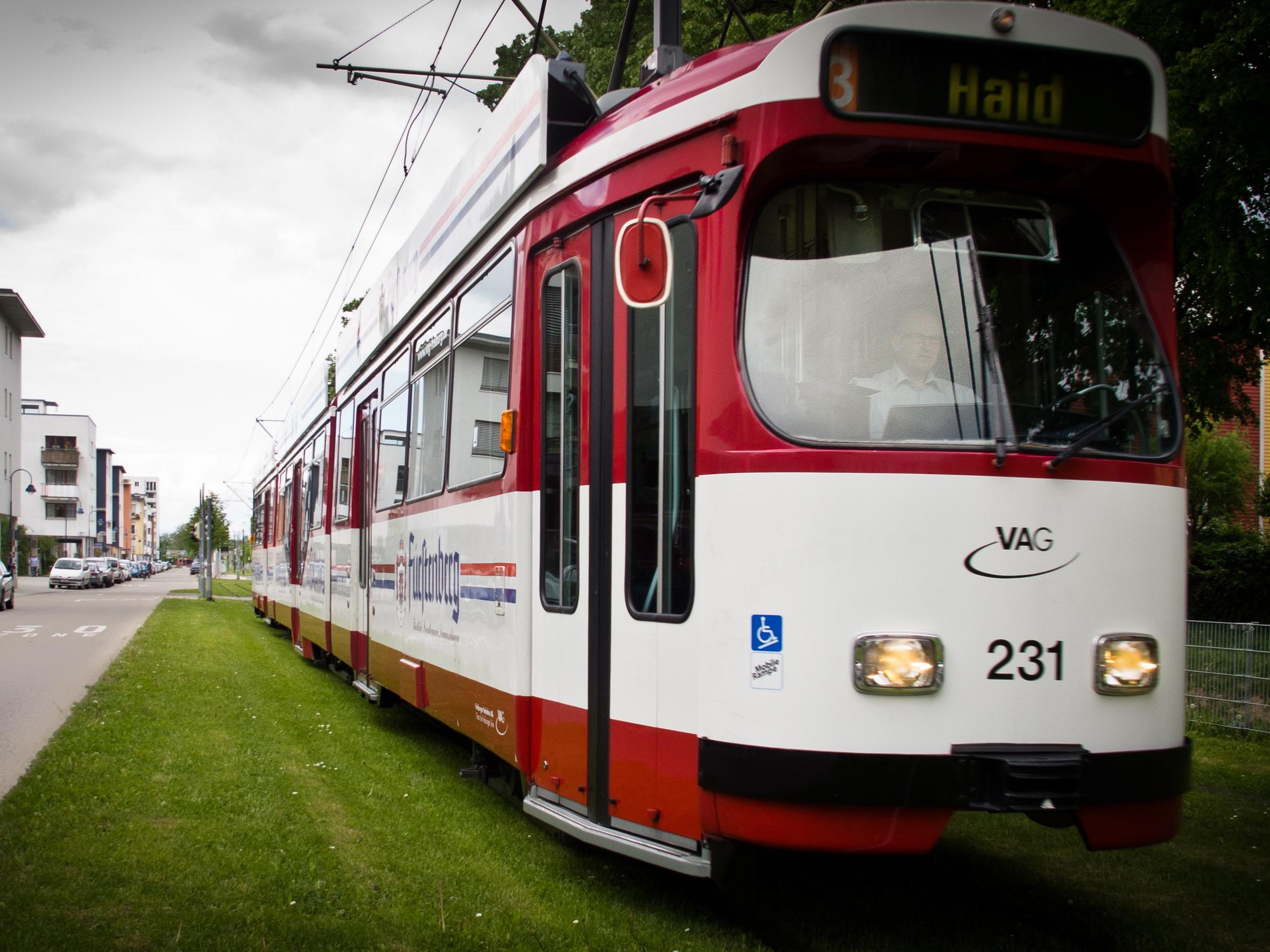 Electric trolley in Vauban, a car-free, energy-efficient zone in Freiburg.