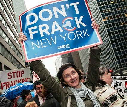 Activists protest against fracking outside Gov. Andrew Cuomo's office in New Yor