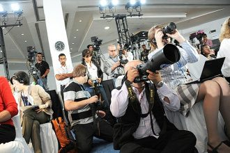 Journalists covering the annual summit of the United Nations Framework Conventio